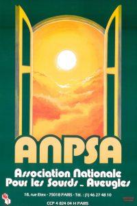 1ère afiiche de l'ANPSA. Le fond est vert foncé. Il y a la fenêtre ouverte sur le ciel ensoleillé. Le nom ANPSA et son développé apparaissent en bas de l'affiche ainsi que l'adresse du siège.