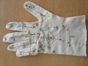 Photo d'un gant sur lequel est imprimé l'alphabet Lorm