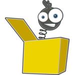 Image représentant une tête avec de gros yeux qui est sur un resort et elle sort d'une boîte à surprise.