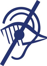 Descriptif du logo spécifique surdicécité : Il reprend les deux logos « officiels » de la surdité (oreille barrée) et de la cécité (œil barré et hachuré). Le logo de la cécité est imbriqué dans celui de la surdité et une seule barre vient barrer cette superposition. Il est bleu foncé.