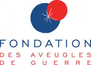 Logo de la Fédération des aveugles de guerre, noté en bleu et rouge avec un grand rond bleu et un plus petit rouge dessus en haut à gauche