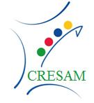 Logo du CRESAM, la France y est représentée par son conture, l'acronyme CRESAM est dans le bas et au dessus 4 points de couleurs qui partent en diagonal de gauche à droite.