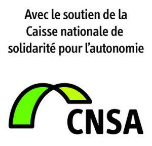"""Logo de la CNSA avec l'inscription : """"Avec le soutien de la caisse nationale sociale pour l'autonomie"""""""