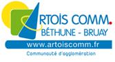 Logo de la communauté d'agglomération Artois comm où apparait le site Internet, le nom Bethune et Bruay