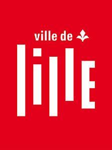 Logo de la ville de Lille sur un fond ouge et avec une fleur avec ses 2 feuilles