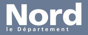 Logo du département du Nord écrit dans un rectangle sur un fond bleu-gris