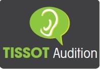 Logo de Tissot audition inscrit dans un carré gris avec une bulle de bande dessinée au dessus de couleur verte avec une oreille blanche dedans.